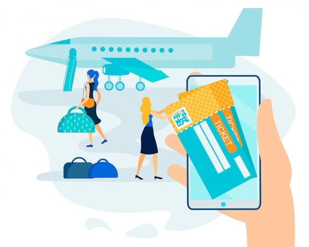 Reserva en línea, pago sin efectivo para boleto electrónico aéreo