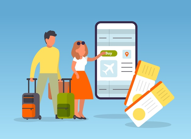Reserva vuelo online. personas que planean un viaje en línea. idea de viaje y turismo. compra billete de avión en la aplicación.