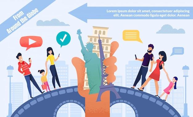 Reservas en línea para la plantilla de anuncios world voyage