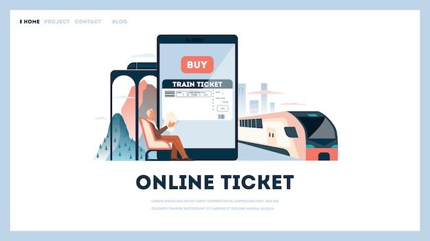 Reserve un concepto de billete de tren en línea. idea de viajes y turismo. planificación de viaje en línea. compra billete de tren en la aplicación. ilustración