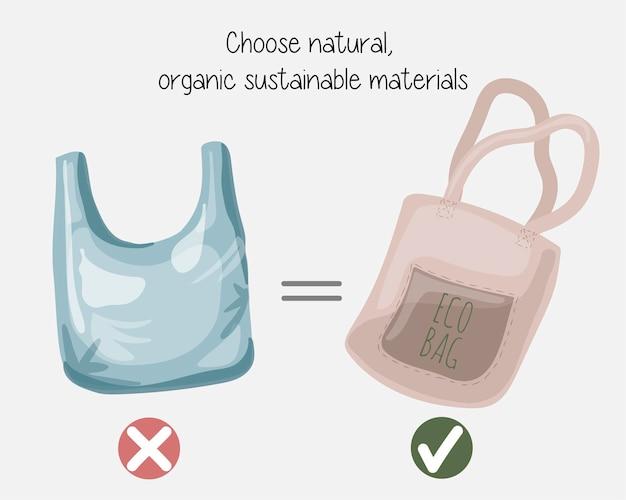 Residuos cero que protegen el medio ambiente eligiendo materiales orgánicos naturales sostenibles. no digas plástico. usa tu propia bolsa