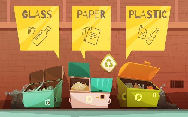 Residuos domésticos de clasificación de contenedores de colores.
