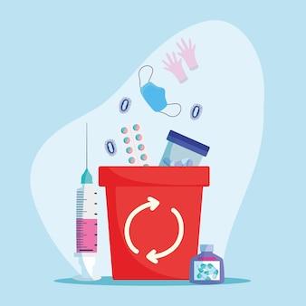Residuos infecciosos en la papelera