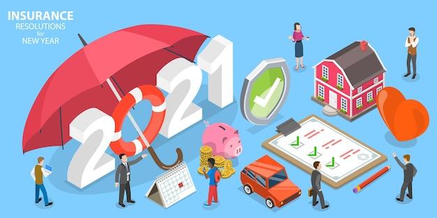 Resoluciones de seguros para año nuevo, planes de seguro médico familiar. ilustración conceptual plana isométrica.