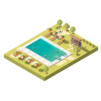 Resort de lujo con piscina isométrica.