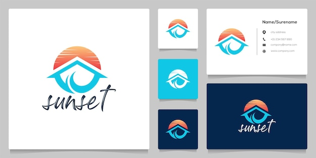 Resort de playa en casa con un hermoso diseño de logotipo de círculo al atardecer con tarjeta de visita