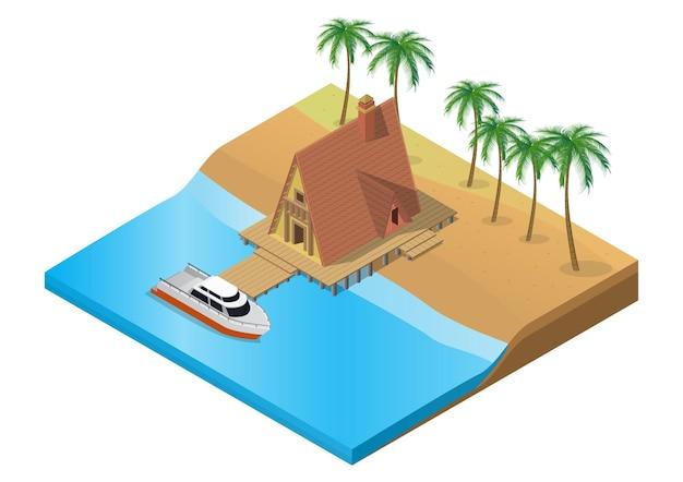 Resort tropical de madera isométrica con barco sobre el agua