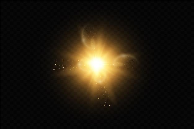 Resplandor aislado blanco transparente efecto de luz conjunto destello de lente explosión brillo línea sol flash