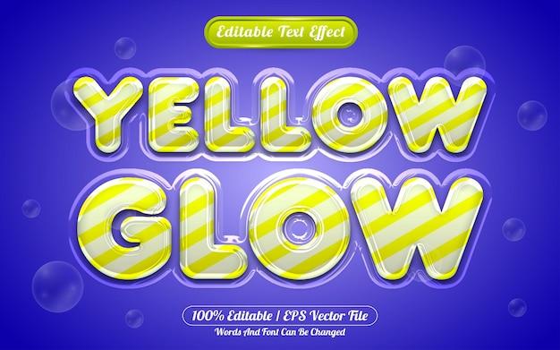 Resplandor amarillo efecto de texto editable 3d estilo líquido