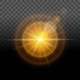 Resplandor brillante, luz amarilla, efecto de lente transparente