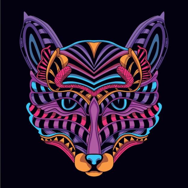 Resplandor en la cabeza de gato decorativa color neón oscuro
