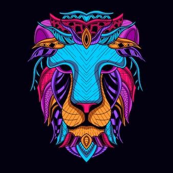 Resplandor en la cabeza de león oscuro en color neón