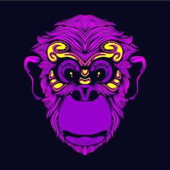 Resplandor cabeza de mono sonriente illsutration