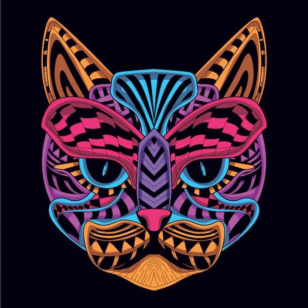 Resplandor en la cara de gato decorativa oscura