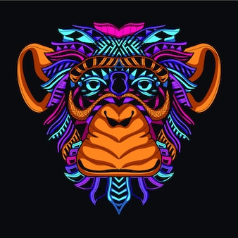 Resplandor en la cara de mono decorativa oscura