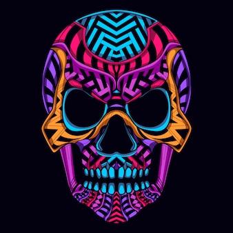 Resplandor de color skul estilo de arte de neón
