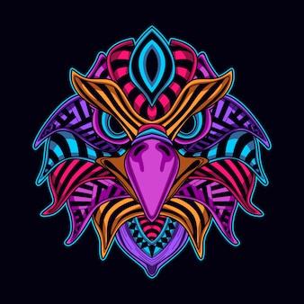 Resplandor decorativo en la cabeza de águila oscura
