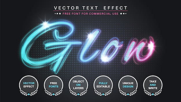 Resplandor editar efecto de texto estilo de fuente