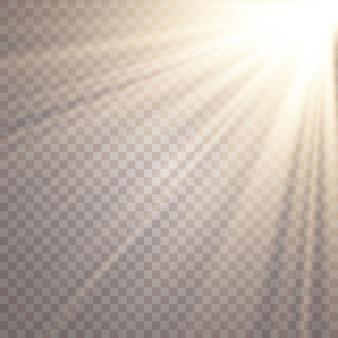 Resplandor solar sobre fondo transparente. efectos de luz brillante.