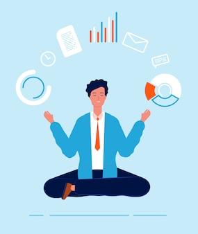 Responsable multitarea. persona de negocios postura de loto yoga sentado haciendo diferentes tareas urgentes vector de procesos de trabajo efectivos. ilustración de gestión empresarial, gerente de persona, personaje multitarea