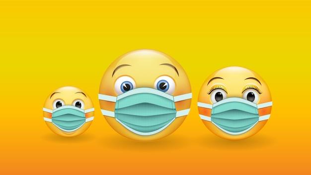Sé responsable y protegido: varios emoticones amarillos en 3d en máscaras médicas.