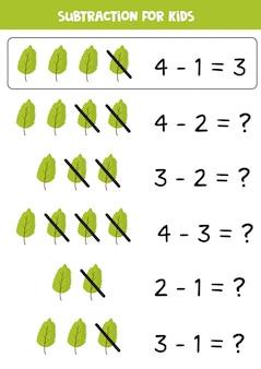 Resta con hoja verde. matemáticas básicas para niños.