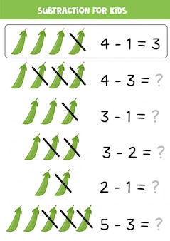 Resta para niños. dibujos animados de guisantes verdes. juego de matemáticas.