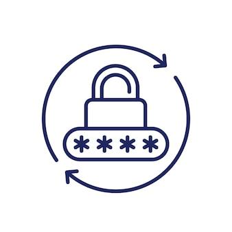 Restablecimiento de contraseña, icono de seguridad, vector de línea