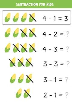Restando mazorcas de maíz. juego educativo de matemáticas para niños.
