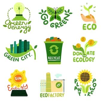 Restauración ecológica emblemas planos energía solar eco fábrica reciclaje de residuos y ciudad verde ilustración aislada