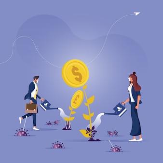 Restauración económica tras el brote de covid, la crisis empresarial se recupera empresarios regando el árbol del dinero con células de virus alrededor