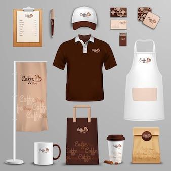 Restaurante café conjunto de iconos de identidad corporativa