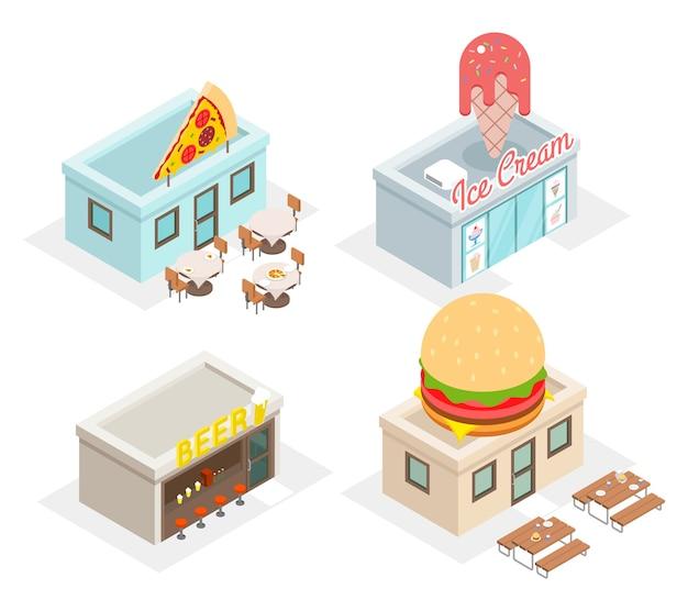 Restaurante, cafeterías y tiendas de comida rápida en vista isométrica
