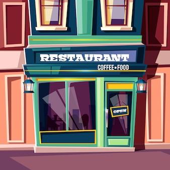 Restaurante de la calle de la ciudad con placa abierta en la puerta de entrada y linternas vintage