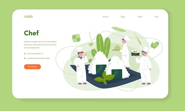 Restaurante chef cocinando rollos y banner web de sushi o página de destino. chef de sushi en delantal con herramienta de cocina. trabajador profesional en la cocina.