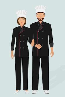 Restaurante chef y cocinero en uniforme. par de personajes del personal de servicio de catering. hotel acogedor.