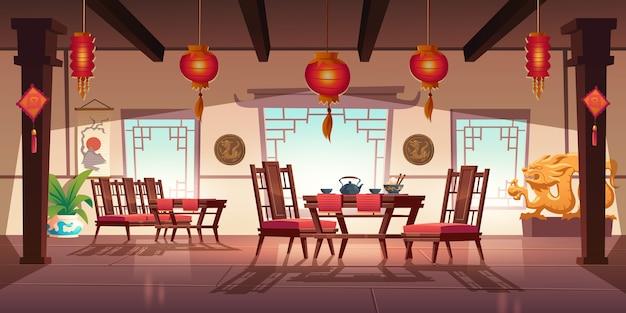 Restaurante chino con comida y té en mesa y sillas de madera. interior de dibujos animados de china cafe con ventanas tradicionales, linternas asiáticas rojas, flores y decoración con dragones