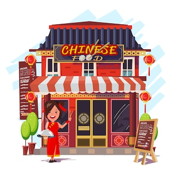 Restaurante chino con recepcionista.