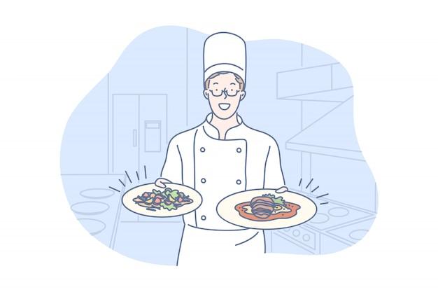 Restaurante, cocina, plato, concepto de presentación.