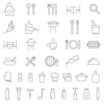 Restaurante, cocina, servicio, cocina, cubiertos, herramientas