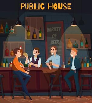 Restaurante coloreado pub visitantes composición con casa pública