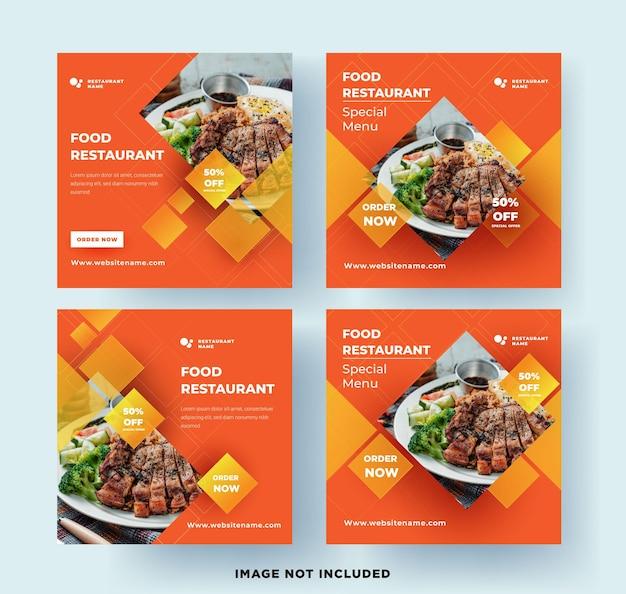 Restaurante de comida de banner de publicación en redes sociales con diseño verde fresco