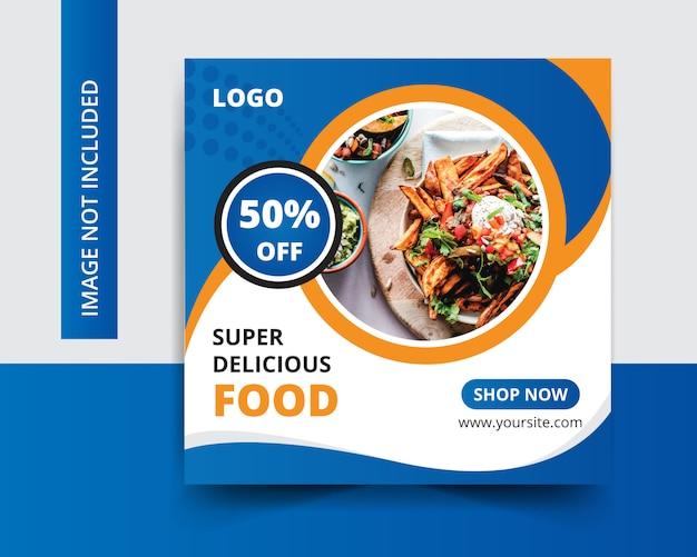 Restaurante de comida deliciosa publicación en redes sociales