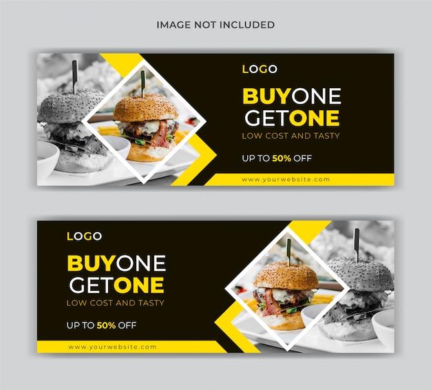 Restaurante de comida con descuento en portada de redes sociales y banner web
