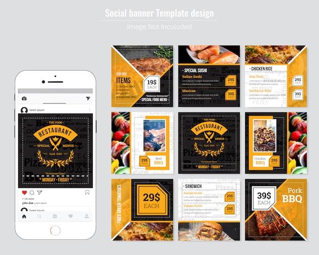 Restaurante comida menú plantilla de redes sociales