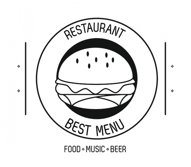 Restaurante comida música y cerveza emblema concepto