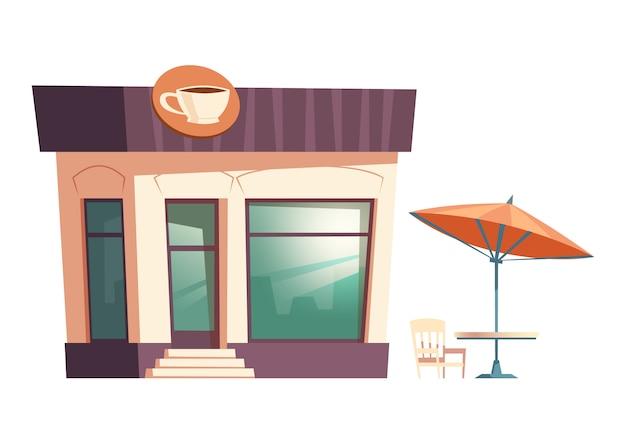 Restaurante de comida rápida, café, sombrilla en la calle