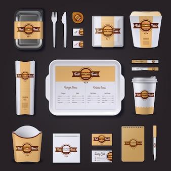 Restaurante de comida rápida de diseño corporativo.