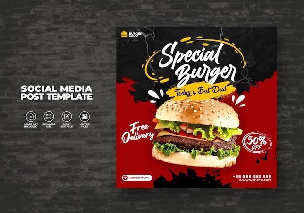 Restaurante de comida para redes sociales plantilla hoy delicioso menú hamburguesa promoción