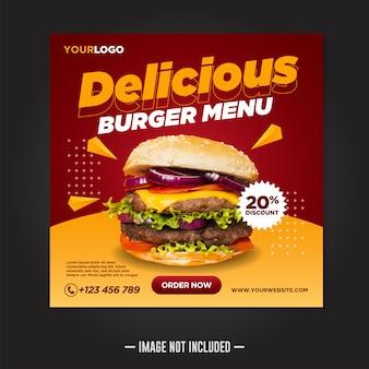 Restaurante comida redes sociales publicar plantilla banner cuadrado
